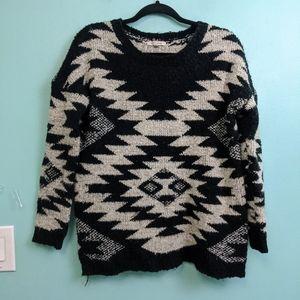 Cozy Casual Southwestern Print Fluffy Long Sleeve Sweater Small/ Medium